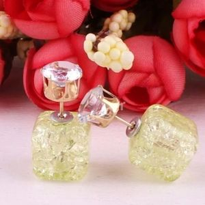 💚Crystal Green Crush Candy Double-Side Earrings💚